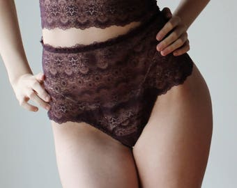 womens lace panties with tanga back - CUPID - sheer mesh lingerie range - made to order