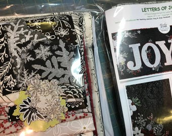 MarveLes  Complete Quilt KIT and Pattern for LETTERS of JOY Cristmas Black Glimmmer Silver Berries Red Holiday Poinsettia Home Decor