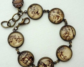 VACATION SALE- The Story of Alice in Wonderland Bracelet. Gift for her under 30 usd