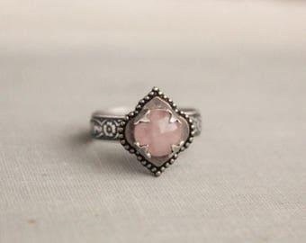 VACATION SALE- Rose Quartz Ring. Quatrefoil Ring. Adjustable
