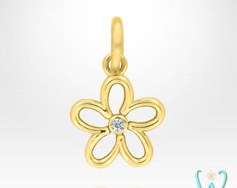14K Diamond Flower Pendant or Necklace (Made to Order)