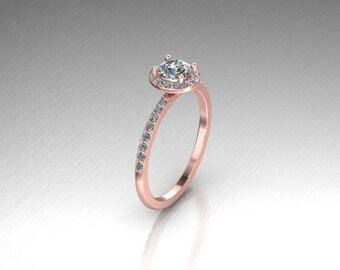 Elegant 14k rose, yellow or white gold half carat round halo engagement ring.