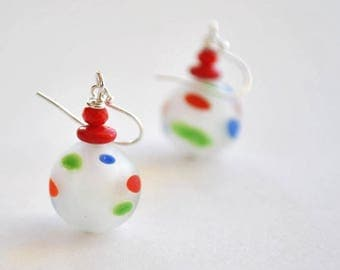 SALE Primary Polka Dot Earrings, Colorful Earrings, Lampwork Glass Dangle
