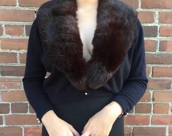 1950s Fur Trimmed Cardigan