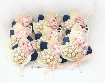 Wedding Boutonnieres,Navy Blue,Groomsmen,Blush,Gold,Brooch Boutonnieres,Corsages,Navy Button Holes,Groom,Mother of the Bride,Navy Bouts