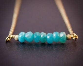 ON SALE Blue Amazonite Necklace - Amazonite Jewelry - 14K Gf