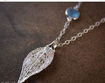 ON SALE Silver Evergreen Leaf Necklace - Blue Chalcedony -  Dipped Leaf Necklace
