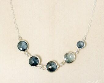 Silver London Blue Topaz Bib Necklace - 925 Silver - Genuine London Blue Topaz, December Birthstone