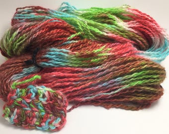 "Hand-Spun 100% Wool Yarn ""Halleluia"" Hand-Washed, Carded, Spun and Painted, 2 ply, Knit, Crochet, Weave, Aran & Worsted to Bulky 154 yds"