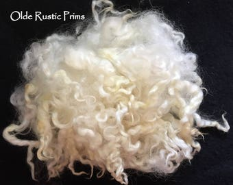 Wavy White Antiqued Sheep's Wool Doll Hair-Washed and Separated-Perfect Primitive Santa, Uncle Sam Doll Hair