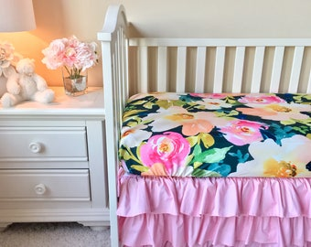 Floral Knit Bumperless Bedding, Baby Pink Bumperless Crib Bedding, Navy Watercolor Floral Baby Bedding, Pink and Navy Nursery, Pink Crib