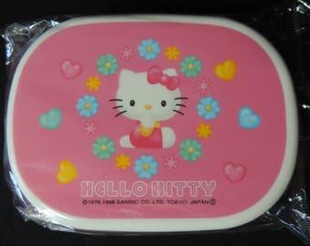 Hello Kitty bento box vintage pink floral Sanrio Smiles Japan plastic stash box
