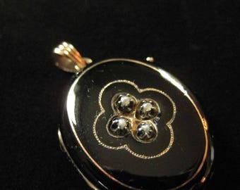 Victorian Mourning Locket with Black Enamel and Seed Pearls