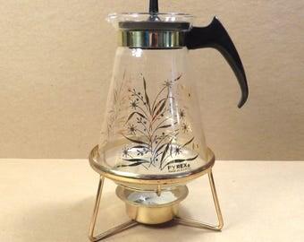 Mid Century Pyrex Atomic Floral Design Coffee Vintage 1960s Retro Coffee Pot Carafe with Burner