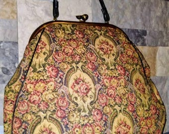 Vintage 1950s Over Sized Tapestry Carpet Bag Gorgeous Vintage Bag