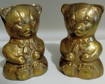 Vintage Brass Teddy Bear Bookends Nursery Decor