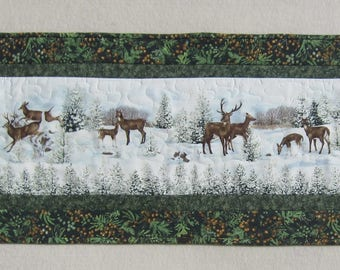Deer Winter Snow Lanscape with Pine Trees Table Runner Quiltsy Handmade