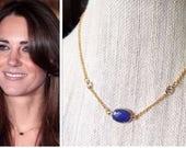 Kate Middleton Genuine Sapphire Gemstone 14k Gold Cubic Zirconia Station Necklace