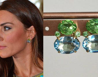 Kate Middleton Swarovski Crystal Peridot Aquamarine Gold Earrings