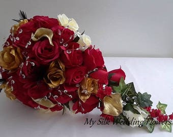 Wedding, Bouquet, Feathers, Red, Roses, Gold, Calla Lily, Ivory, Crystals, Blings, Accent, Cascade, Silk, Flowers,