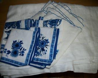 """VIntage Linens Cutter Pieces Bundle  Destash white tablecloth   80"""" x 60""""  + 8 napkins  for cutters"""
