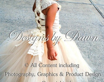 Custom listing for Cheryl - Oct. - Ivory & Taupe flower girl dress with lace, train and hair piece!