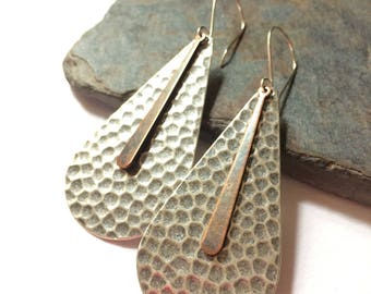 Mixed Metal Silver and Copper Dangle Earrings