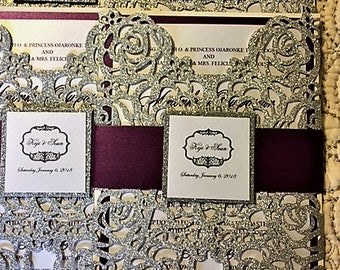 100 silver and plum wedding invitations