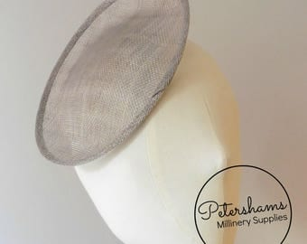 Oval Scallop Sinamay Fascinator Hat Base for Millinery & Hat Making - Pewter Grey