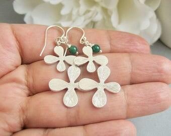 Silver Flower Earrings with Green Stone, Emerald Green Earrings, Dangle Long Earrings Sterling Silver Ear Wires, Flower Jewelry, Hydrangea