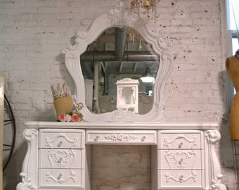 Painted Cottage Chic Shabby Romantic Vanity and Mirror VAN755
