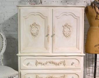 Painted Cottage Chic Shabby French Dresser/ Chest CH910