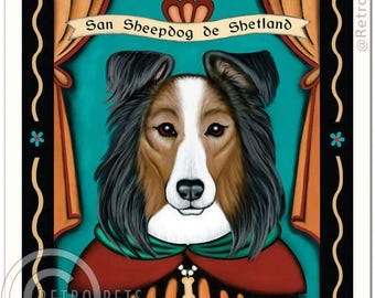 11x14 Sheepdog Shetland - Sheltie Art - Patron Saint of Ankle Nippers - Art print by Krista Brooks