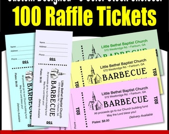 100 Card Stock Custom Raffle Tickets - Preforated Stub, Numbered on Two Ends - No Booking - No Booking