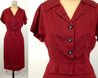 1940s skirt top suit linen red black fitted peplum top Size M