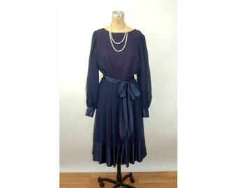1970s dress navy blue pleated dress sheer chiffon and satin two tone special ocassion dress Baron Peters Size L