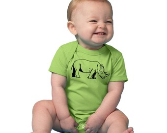 Rhinoceros Baby Clothes, Baby onepiece, Rhino Shirt, infant Bodysuit, Short Sleeved Cotton Top, Zoo Animal Tshirt, Baby Boy Baby Girl Unisex