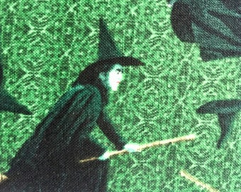 Wicked Witch fabric, OOP, rare, Wizard of Oz fabric, Halloween fabric, green, black, by the half yard, yardage available