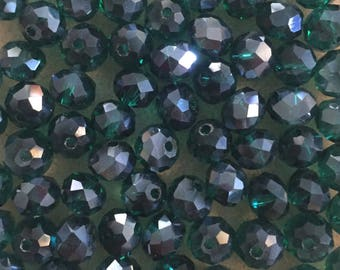 35 x faceted glass 8mm abacus dark green beads