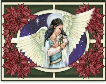 Angel with dove and poinsettias card