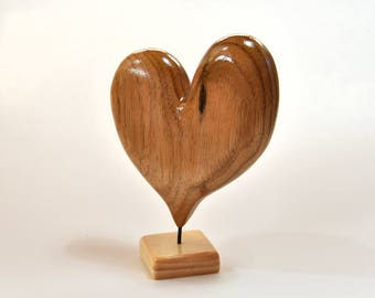 Heart Wood Carving Wooden Heart 5th Anniversary Gift For Grandma Wife Christmas Gift Wood Sculpture