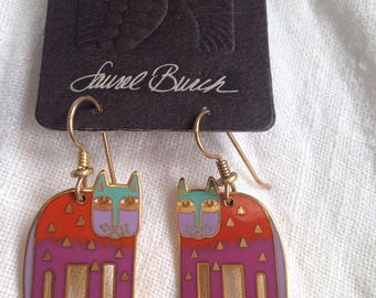 "Laurel Burch ""ALEXANDER'S ANIMAL"" Earrings Enamel Cloisonne on Original Card"