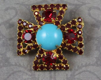 Vintage Small Ruby Red Rhinestone and Turquoise Glass Maltese Cross Brooch
