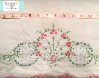 Vintage Pillowcase with Hand stitched Flower Motif