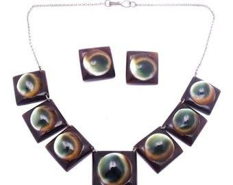 CIJ SALE Christmas JULY Beautiful Art Nouveau Art Deco Operculum Shell Sterling Silver Earring Necklace Set Art Deco Jewelry
