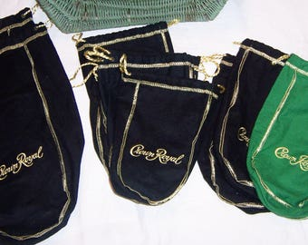 11 CROWN ROYAL Whiskey Flannel Drawstring Bags Sacks, 10 Black 1 Green, Gold Stitching and Drawstrings, Quilting, Sewing, Crafting, Storage