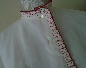 Carol Benson Original White Blouse Trimmed In Ruffled Red Polka Dots  Sold by Hahne & Co Size 34