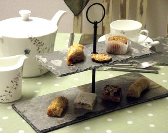Cornish slate cakestand 2 tier