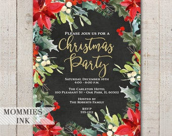 Holiday Party Invitation, Christmas Party Invitation, Winter Party Invitation, Floral Wreath Invitation, Gold Invitation, Office Party