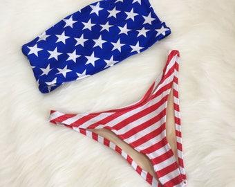 American flag bandeau bikini